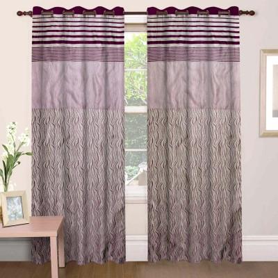 Mdf Curtains Jacquard Wine Geometric Eyelet Door Curtain