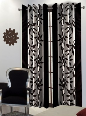 Home Blossoms Polyester Black Floral Eyelet Window Curtain