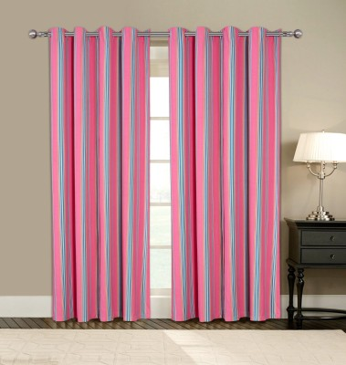 Home Boutique Cotton Pink Striped Eyelet Long Door Curtain