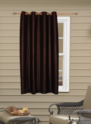 Batham Sales Blends Brown Plain Eyelet Window Curtain