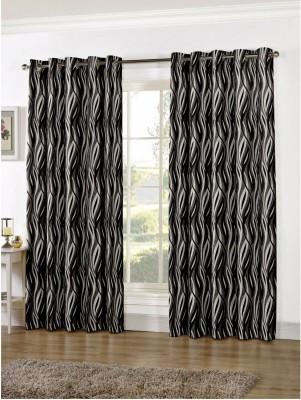 Zephyrtex Polyester Grey Geometric Eyelet Door Curtain