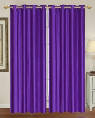 HomeTex Polycotton Purple Plain Eyelet Long Door Curtain