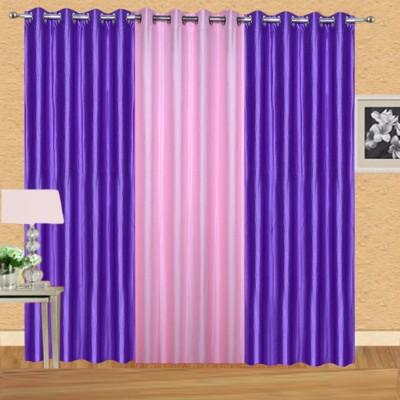 Excel Bazaar Polycotton Purple-1lightpink Plain Eyelet Door Curtain