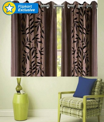 Zesture Polyester Brown Striped Eyelet Window Curtain
