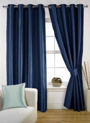 Homec Polyester Navy Solid Eyelet Window Curtain