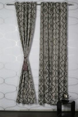 Homelife Jacquard Brown Self Design Eyelet Door Curtain
