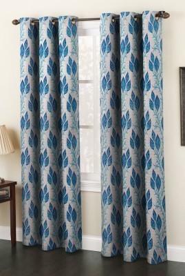 AJ Interior Polyester Aqua Printed Eyelet Door Curtain