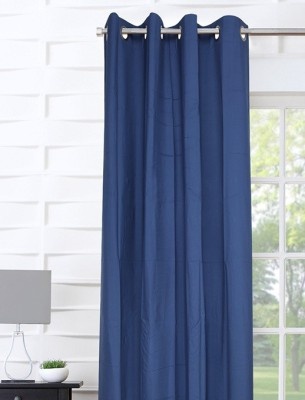Portico New York Polyester Blue Plain Curtain Door Curtain