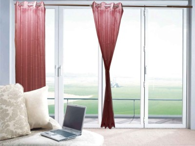 Furnishing Centre Polyester Light Maroon Striped Eyelet Window Curtain