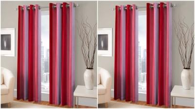 Trendz Home Furnishing Polyester Red Printed Eyelet Door Curtain