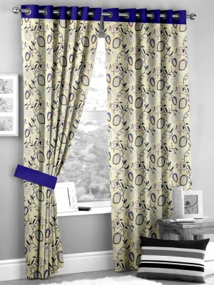 HOMEC Polyester Blue Floral Eyelet Window & Door Curtain
