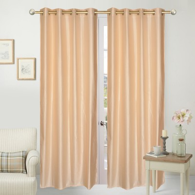 Home Fashion Polyester Beige Plain Eyelet Door Curtain