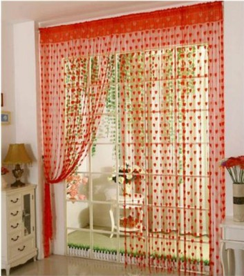 Elsker Polyester Red Self Design Eyelet Door Curtain