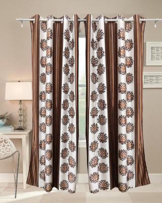 Sajawatt Polyester Brown Motif Eyelet Long Door Curtain