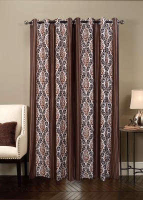 Jds Polyester Brown Printed Ring Rod Door Curtain