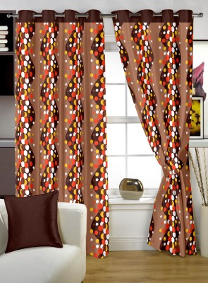 Story @ Home Polyester Brown Printed Eyelet Window Curtain