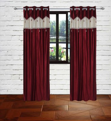 Gaurav Curtains Polyester Maroon Floral Eyelet Window Curtain