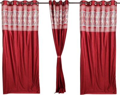 Textile O Craft Polyester Red Plain Eyelet Window Curtain
