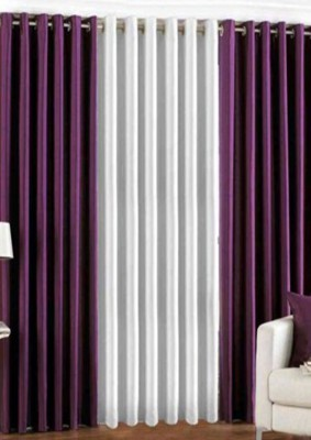 sajaawat Polyester PURPLE:WHITE Solid Eyelet Long Door Curtain
