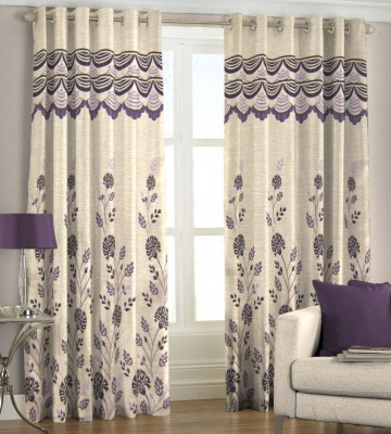 Just Linen Polyester Maroon Floral Eyelet Door Curtain