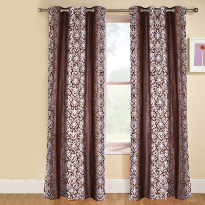 kaka furnishings Polyester Brown Printed Eyelet Long Door Curtain