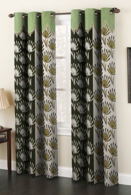 La elite Polyester Green Abstract Eyelet Door Curtain