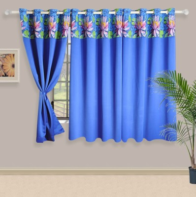 Swayam Silk Blue, Green Motif Eyelet Window Curtain