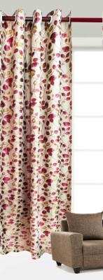 India Furnish Polycotton Pink Floral Eyelet Long Door Curtain