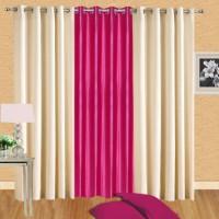 Excel Bazaar Polycotton Cream-1darkpink Plain Eyelet Door Curtain(212 cm in Height, Pack of 3)