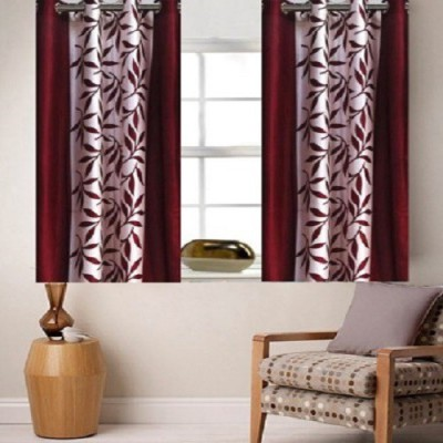 Harry Tex Polyester Maroon Floral Eyelet Window Curtain