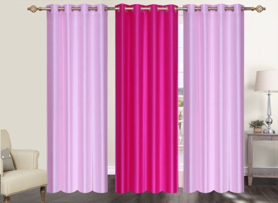Furnishing Zone Polyester Pink Plain Eyelet Long Door Curtain