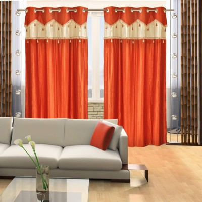 Home Candy Polyester Orange Striped Eyelet Door Curtain