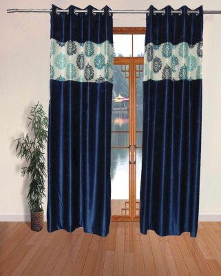 Fresh From Loom Polyester Blue Abstract Eyelet Door Curtain