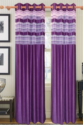 Furnishing Kingdom Polyester Purple Abstract Eyelet Door Curtain