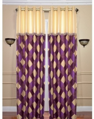 Handloomhub Polyester Purple Checkered Eyelet Door Curtain