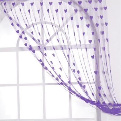 gp Polyester Purple Striped Ring Rod Door Curtain