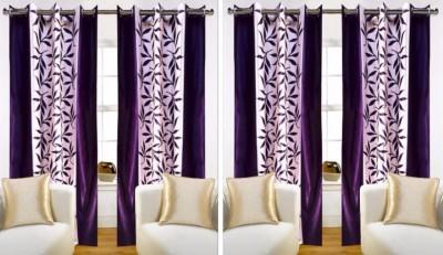 SKE Polyester Purple Striped Eyelet Window Curtain