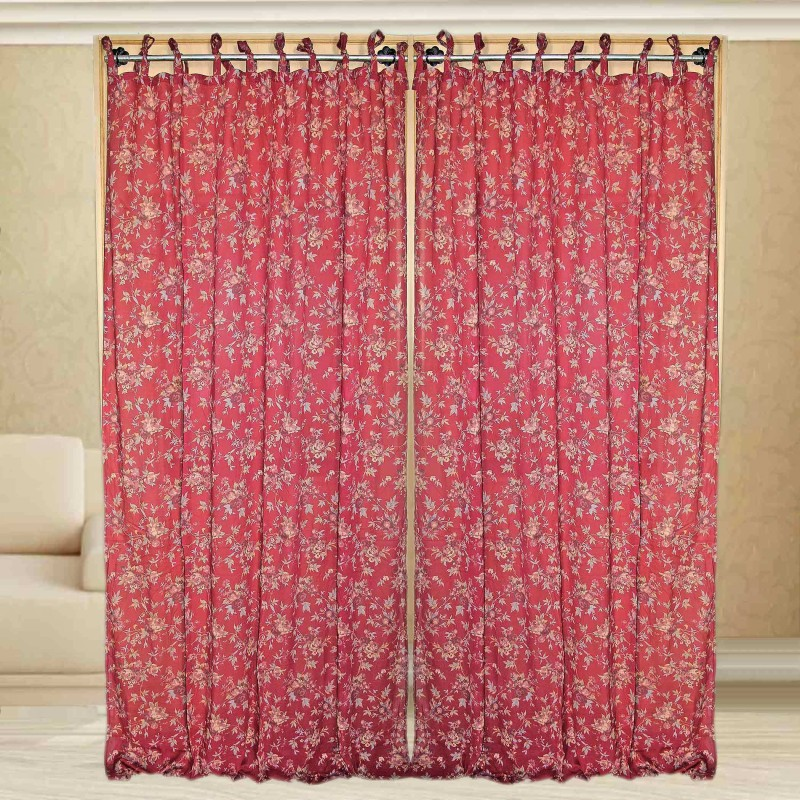 Sriam Cotton Red Printed Curtain Window Curtain(300 cm in Height, Pack of 2)