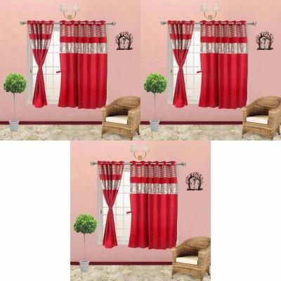 Go Decore Satin Red Self Design Ring Rod Window Curtain