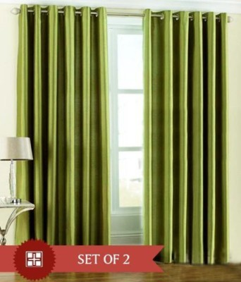 BTI Polyester Green Plain Eyelet Door Curtain