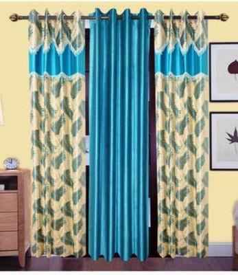 Swastik Polyester Multicolor Self Design Eyelet Window Curtain