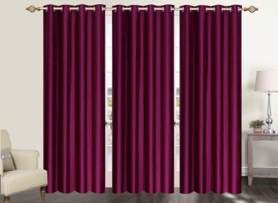 Furnishing Zone Polyester Maroon Plain Eyelet Long Door Curtain