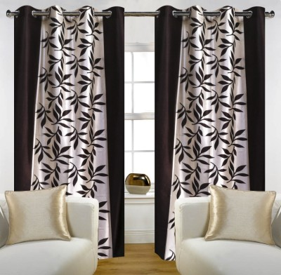 SLV Home Decor Polyester Coffee Floral Eyelet Window Curtain