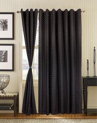 S9home by Seasons Polyester Black Geometric Eyelet Door Curtain