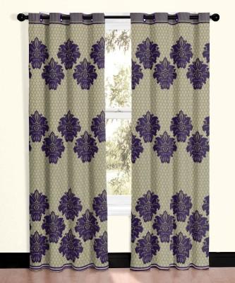 Vivace Homes Jacquard, Polyester Purple Motif Eyelet Door Curtain