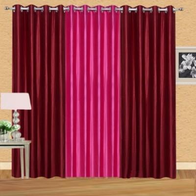 Shiv Shankar Handloom Polyester Maroon, Dark Pink Crush Solid Eyelet Door Curtain