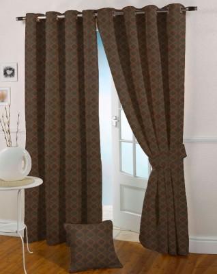 Presto Polyester Brown Self Design Eyelet Long Door Curtain