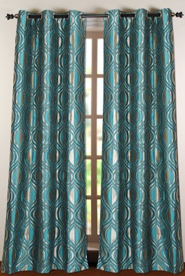 Deco Window Polyester Green Floral Eyelet Door Curtain