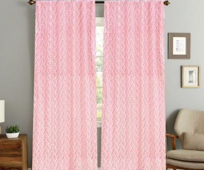 COLORS FOR LIVING Cotton Red Printed Concealed Tab Top Window Curtain