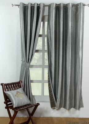 Avocett Polycotton Silver, Grey Plain Eyelet Door Curtain